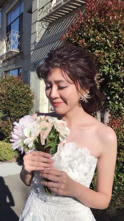 海外婚紗-浪漫乾燥花編髮造型+歐式白紗空氣盤髮