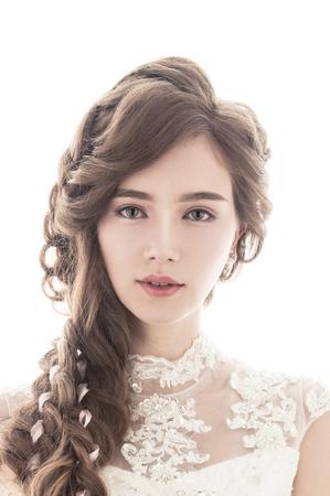 【輕蕾絲混血妝】韓系浪漫微捲髮型/雪花輕蕾絲髮型/仿混血立體妝容/新娘秘書作品