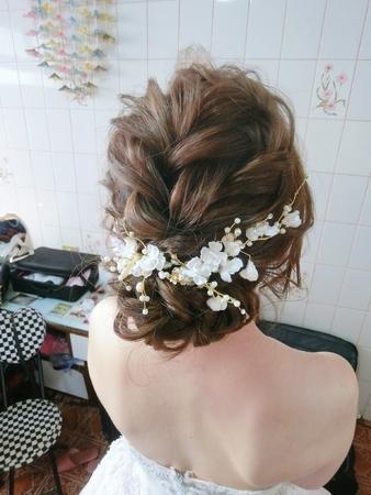 新娘秘書-怡君|好媳婦髮型|公主頭|線條感|乾燥花不凋花|側邊編髮