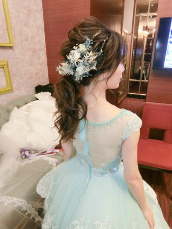 Wedding-宜衿 典雅白紗盤髮/好媳婦馬尾/手工乾燥花/不凋花