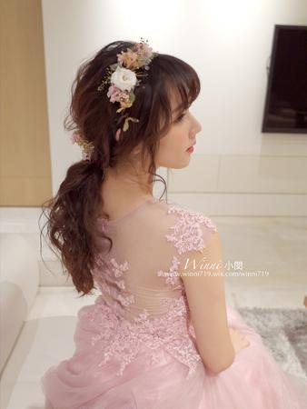 自助婚紗外拍-[甜美鬆捲低馬尾燥型]乾燥不凋花