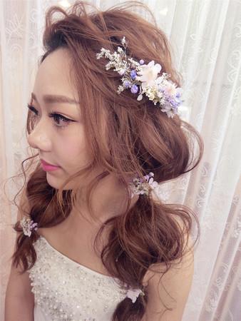 新娘造型|油頭造型|乾燥花花飾|浪漫捲髮|日系髮型