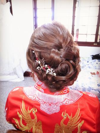 龍鳳掛訂婚編髮造型+花苞頭高盤髮+大皇冠女王造型