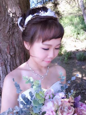 輕韓風羽毛高盤髮+裸紗大皇冠女王造型+髮箍編髮波浪造型