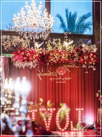 晶麒莊園婚禮佈置-國際廳『華麗美式Casino風-紅金色』婚禮...1070128