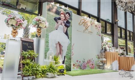 晶麒莊園婚禮佈置-國際廳『浪漫自然水彩風-粉白藍色』婚禮...1060625