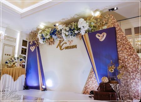 囍宴軒婚禮佈置-香娜爾廳『多層次幾何時尚宮廷風-藍白金色』婚禮...1070324