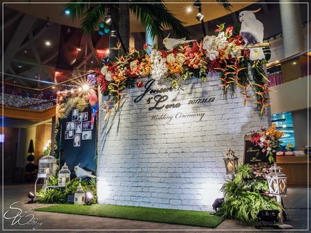 悅華高爾夫球場婚禮佈置『熱帶雨林風-橘紅白綠色』婚禮...1061112