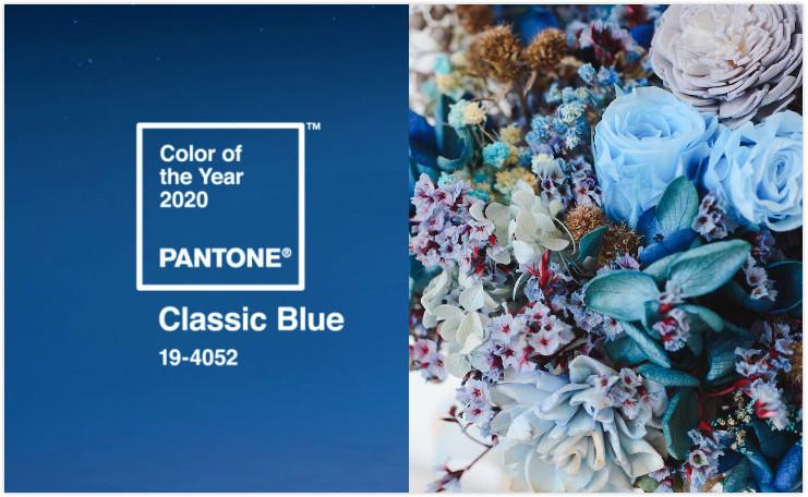 不喧嘩,寧靜且優雅的Pantone2020代表色「經典藍」捧花